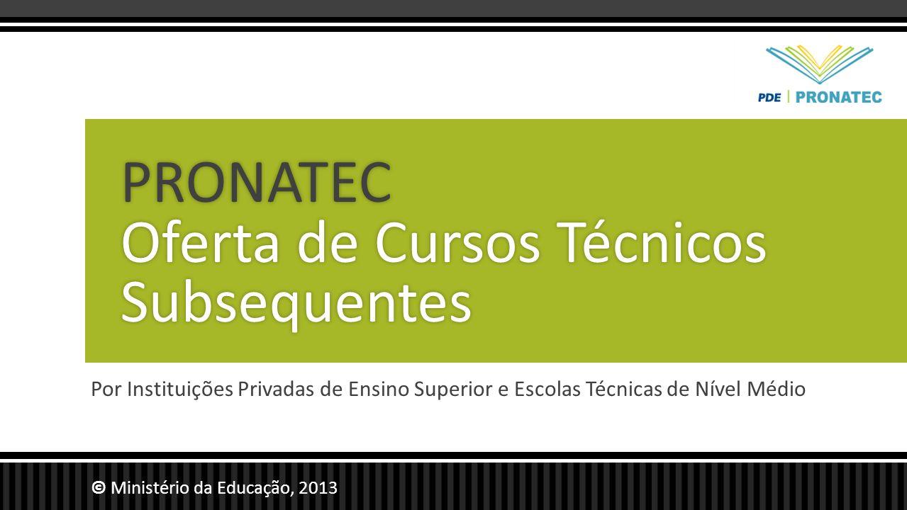PRONATEC Oferta de Cursos Técnicos Subsequentes