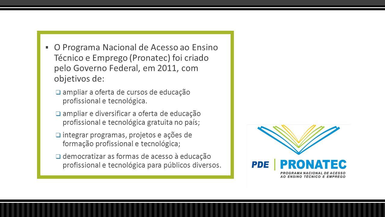 O Programa Nacional de Acesso ao Ensino Técnico e Emprego (Pronatec) foi criado pelo Governo Federal, em 2011, com objetivos de: