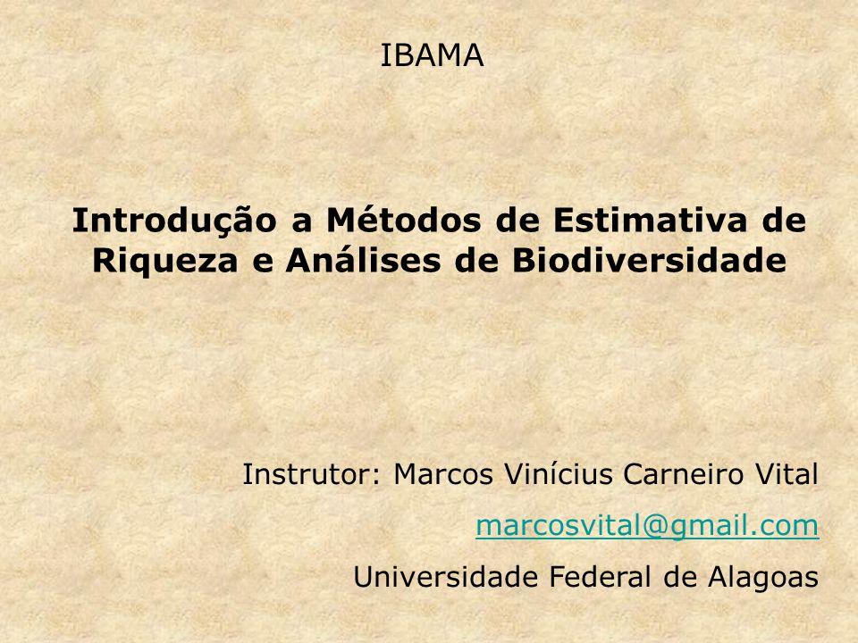 IBAMA Introdução a Métodos de Estimativa de Riqueza e Análises de Biodiversidade. Instrutor: Marcos Vinícius Carneiro Vital.