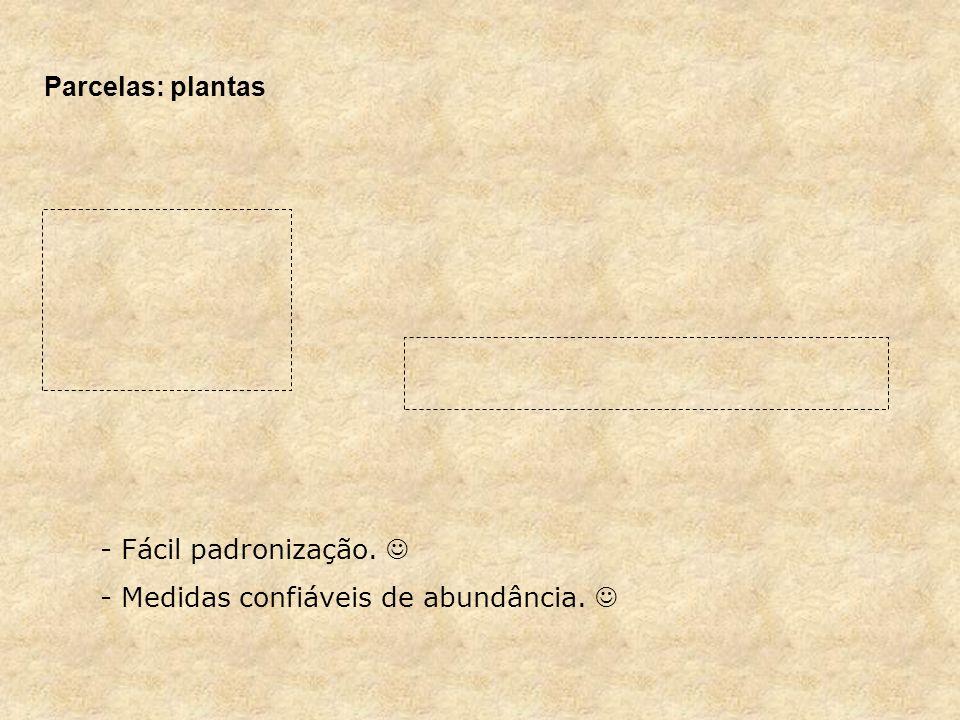 Parcelas: plantas Fácil padronização.  Medidas confiáveis de abundância. 