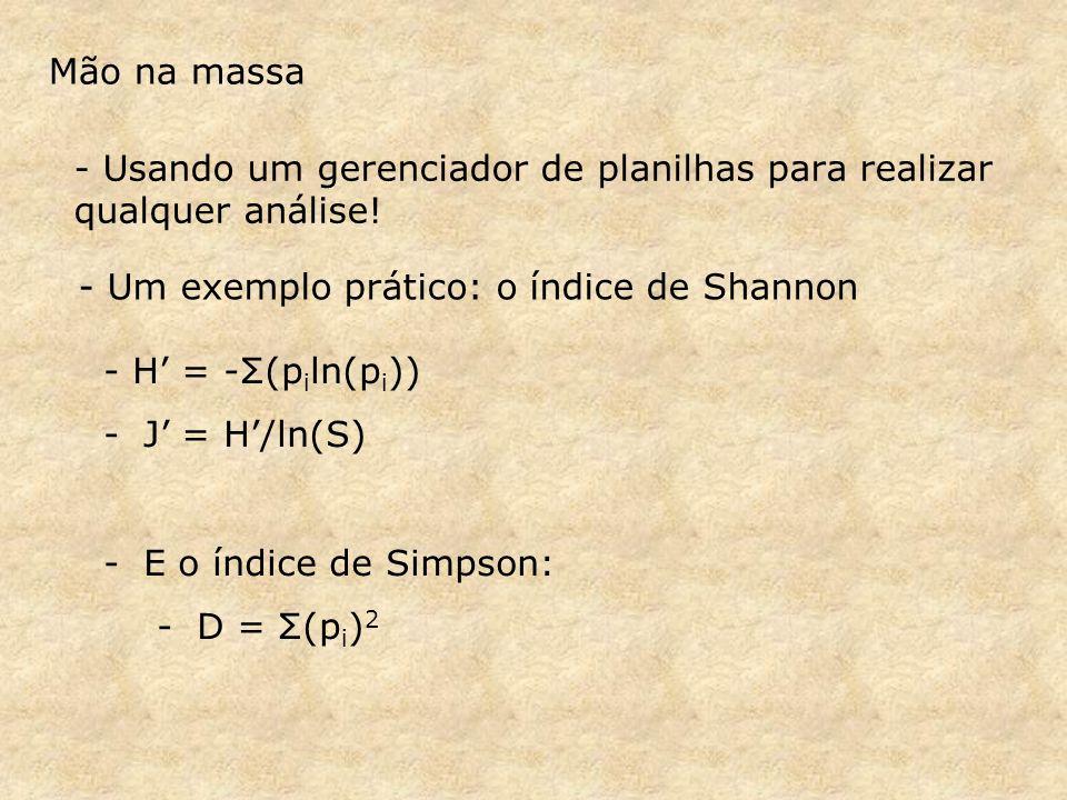 Mão na massa - Usando um gerenciador de planilhas para realizar qualquer análise! - Um exemplo prático: o índice de Shannon.