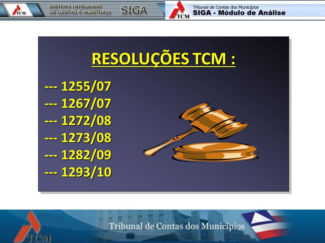 RESOLUÇÕES TCM : --- 1255/07 --- 1267/07 --- 1272/08 --- 1273/08
