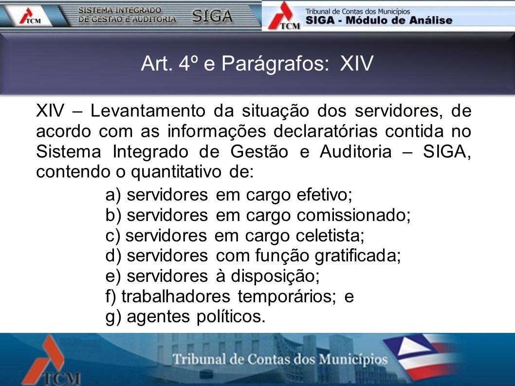 Art. 4º e Parágrafos: XIV