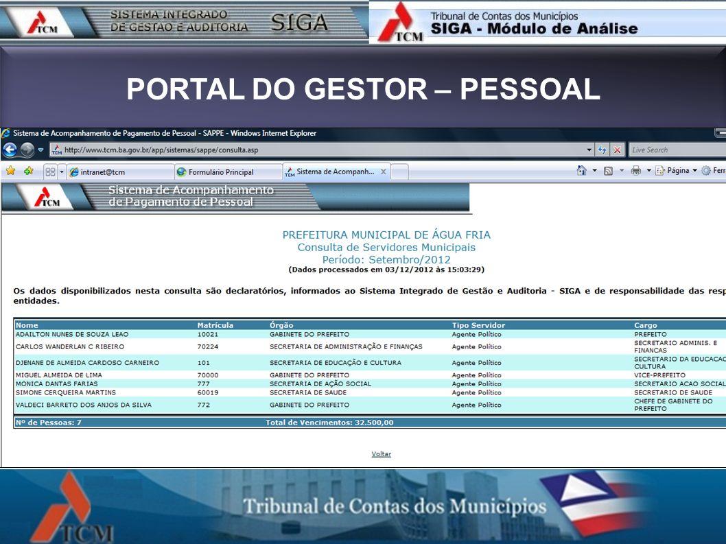 PORTAL DO GESTOR – PESSOAL