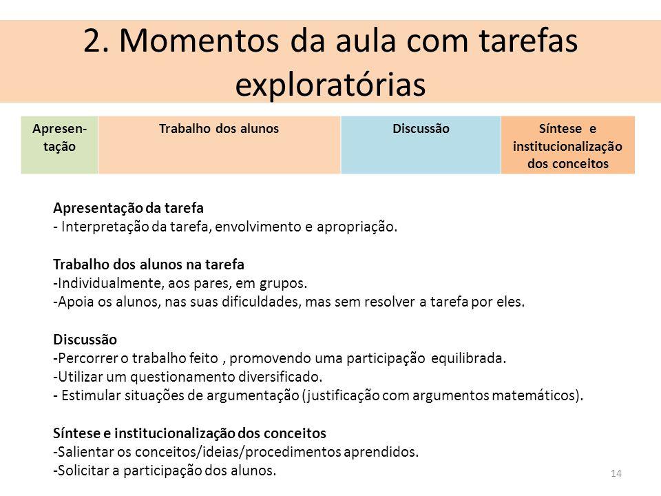 2. Momentos da aula com tarefas exploratórias