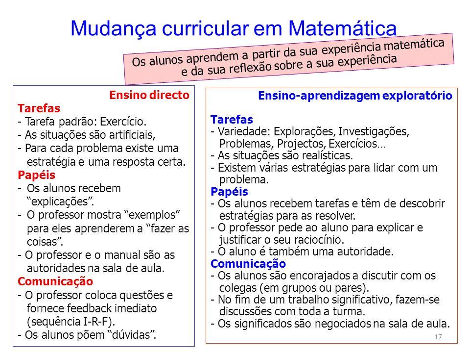 Mudança curricular em Matemática