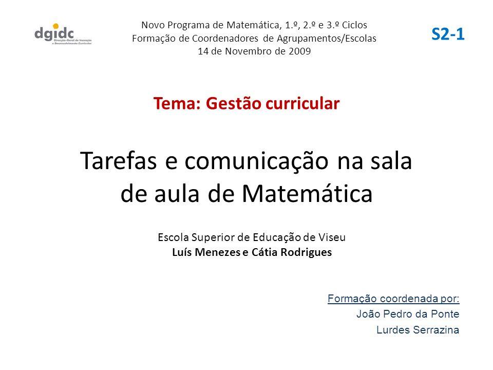 Tarefas e comunicação na sala de aula de Matemática