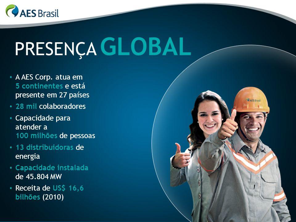 GLOBAL PRESENÇA. A AES Corp. atua em 5 continentes e está presente em 27 países. 28 mil colaboradores.