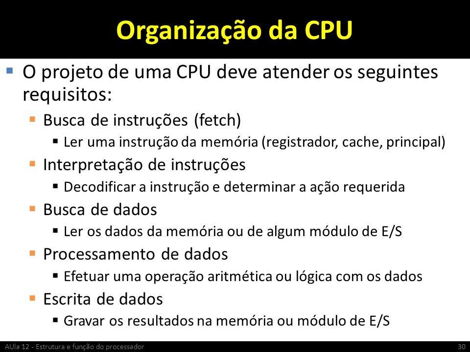 Organização da CPU O projeto de uma CPU deve atender os seguintes requisitos: Busca de instruções (fetch)