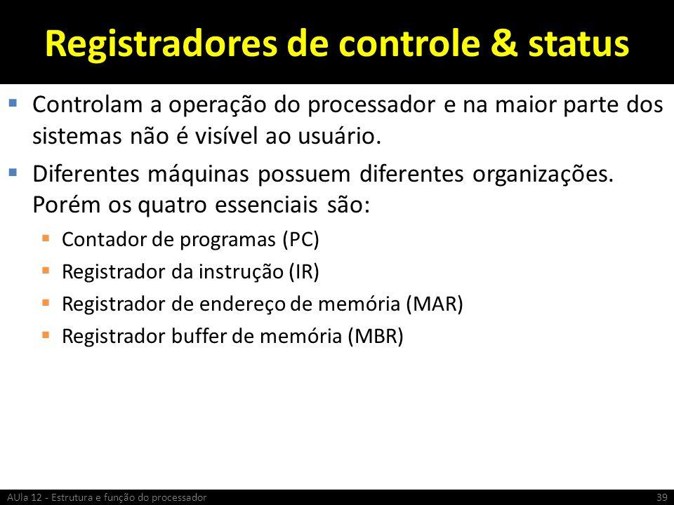 Registradores de controle & status