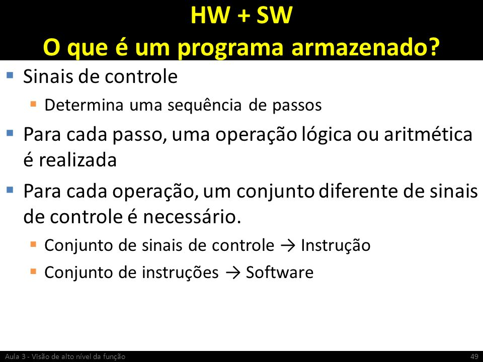 HW + SW O que é um programa armazenado