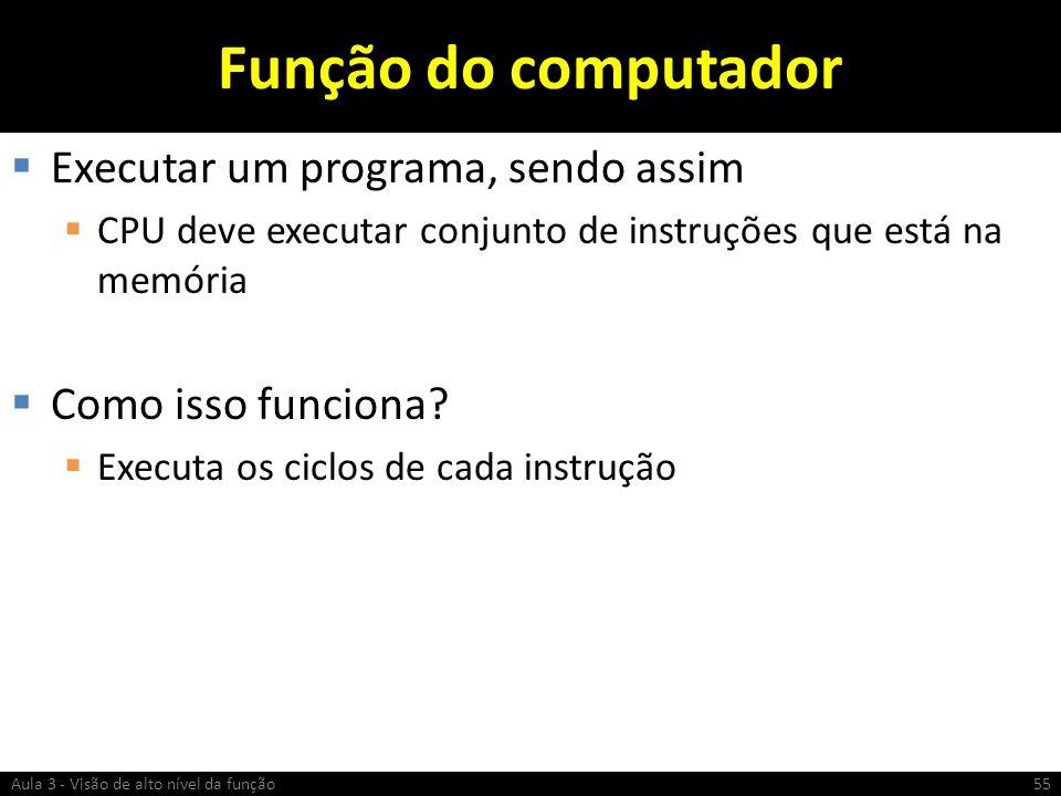 Função do computador Executar um programa, sendo assim