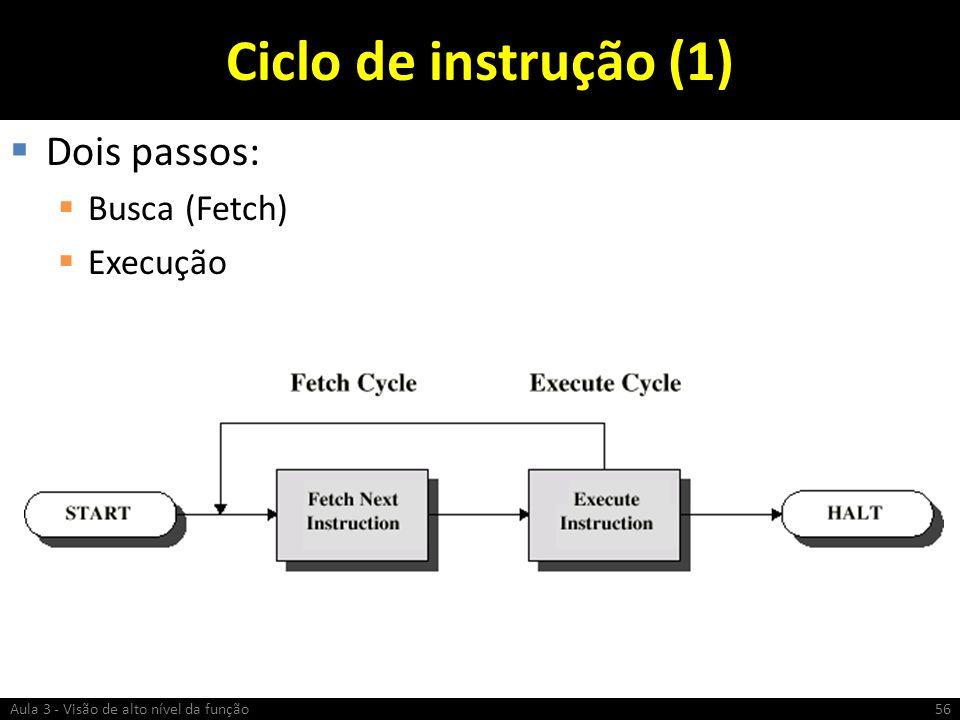 Ciclo de instrução (1) Dois passos: Busca (Fetch) Execução