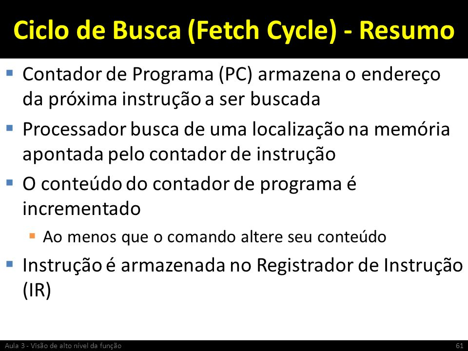 Ciclo de Busca (Fetch Cycle) - Resumo