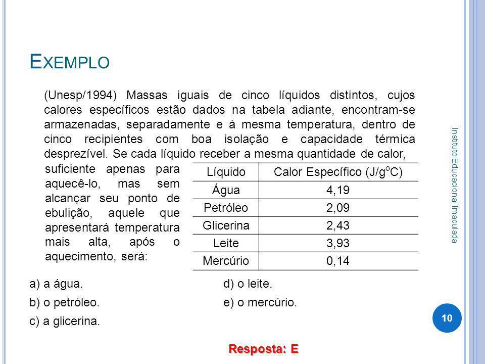 Calor Específico (J/goC)