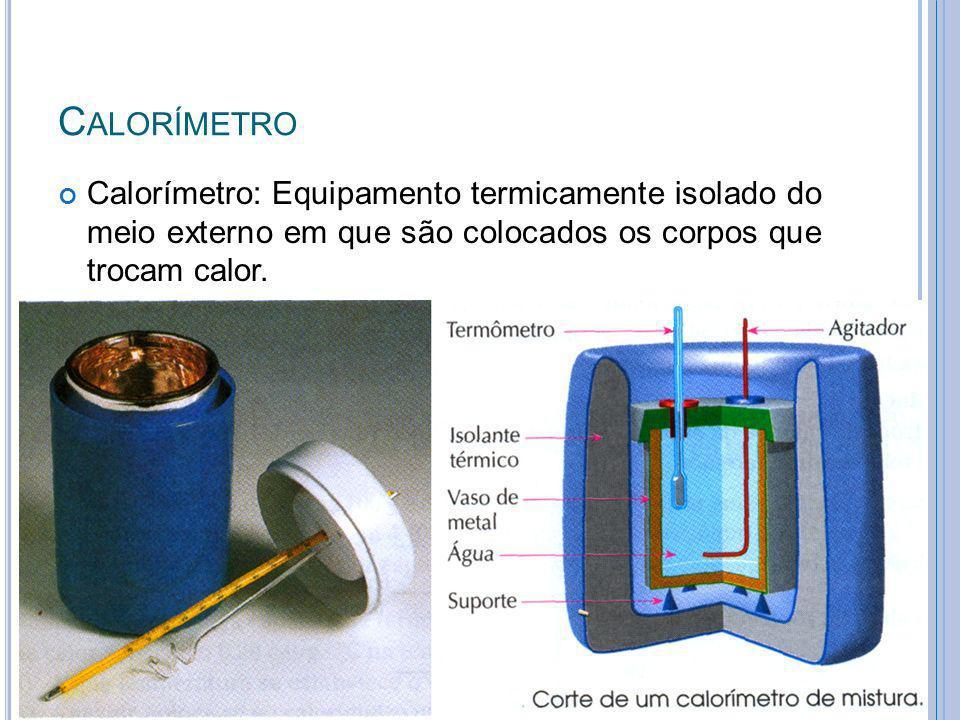 Calorímetro Calorímetro: Equipamento termicamente isolado do meio externo em que são colocados os corpos que trocam calor.
