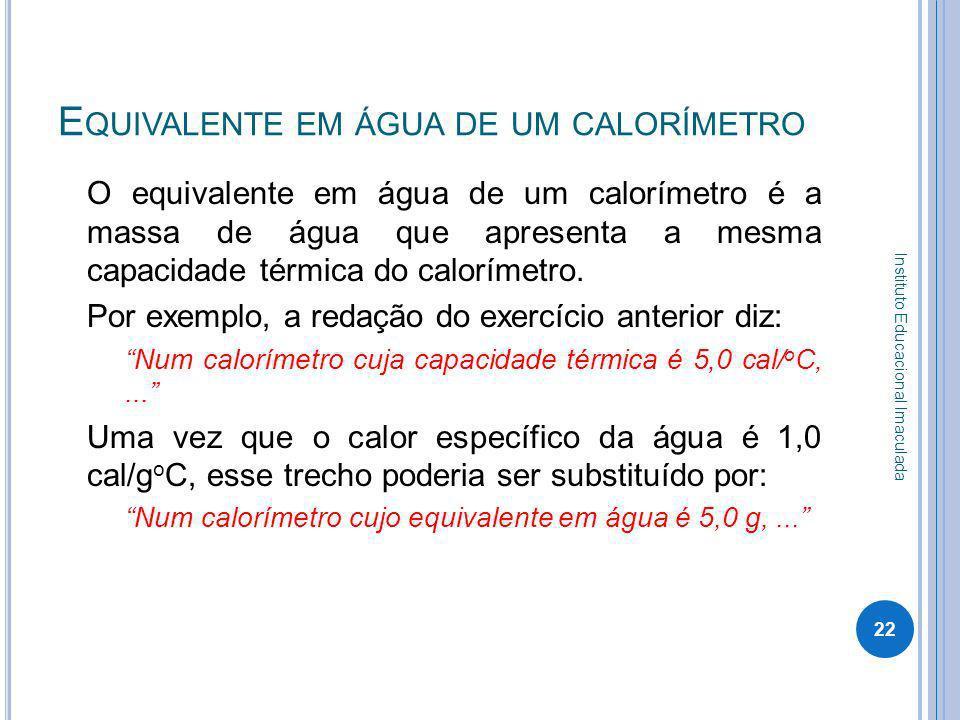 Equivalente em água de um calorímetro
