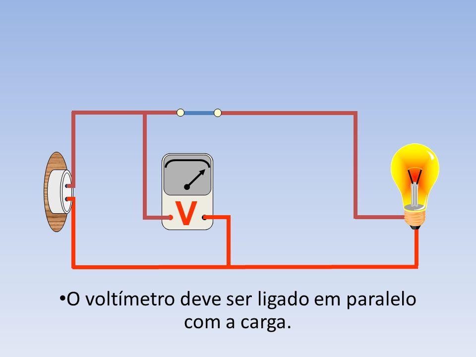 O voltímetro deve ser ligado em paralelo com a carga.