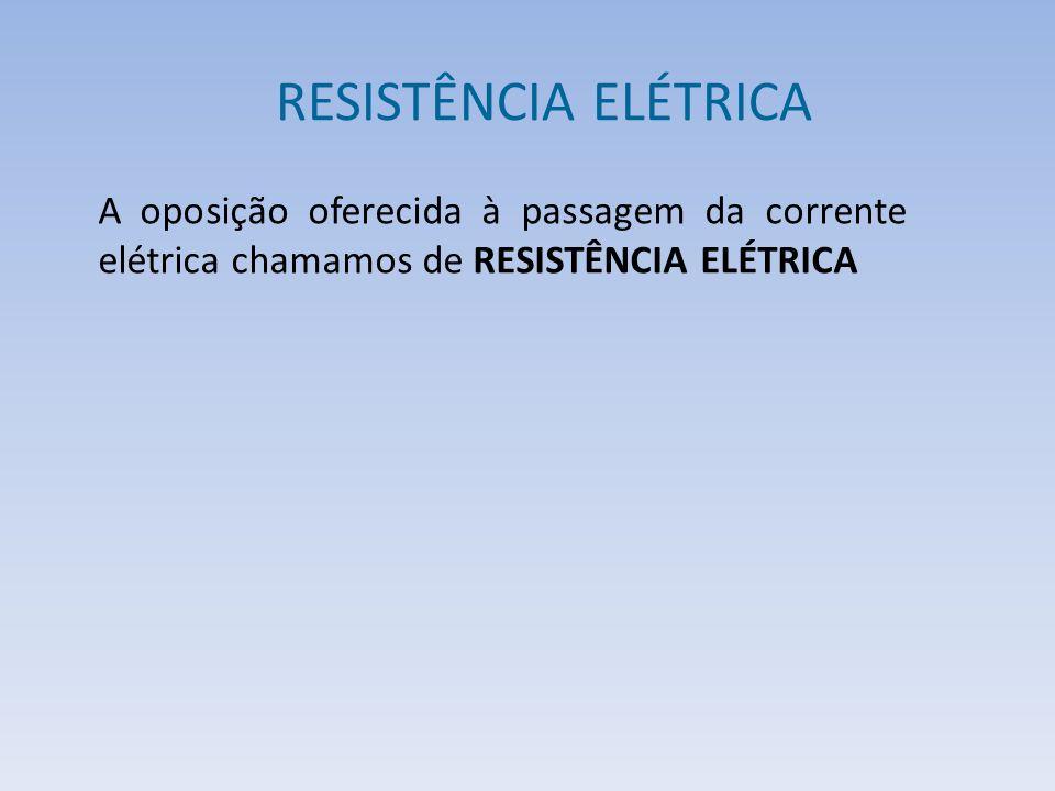 RESISTÊNCIA ELÉTRICA A oposição oferecida à passagem da corrente elétrica chamamos de RESISTÊNCIA ELÉTRICA.