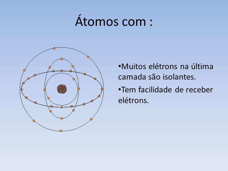 Átomos com : Muitos elétrons na última camada são isolantes.