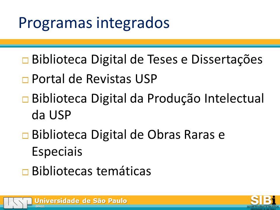 Programas integrados Biblioteca Digital de Teses e Dissertações