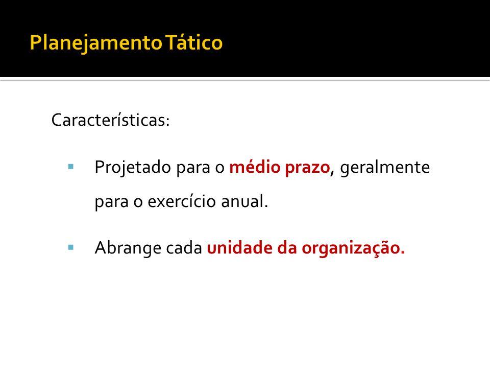 Planejamento Tático Características: