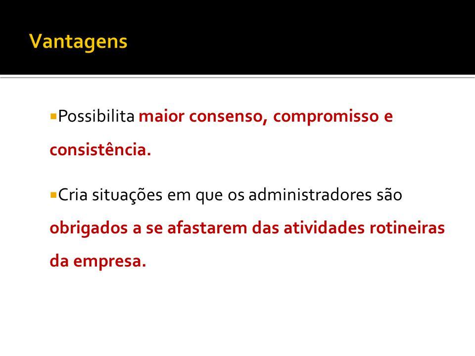 Vantagens Possibilita maior consenso, compromisso e consistência.