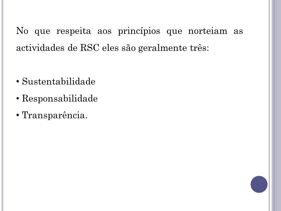 No que respeita aos princípios que norteiam as actividades de RSC eles são geralmente três: