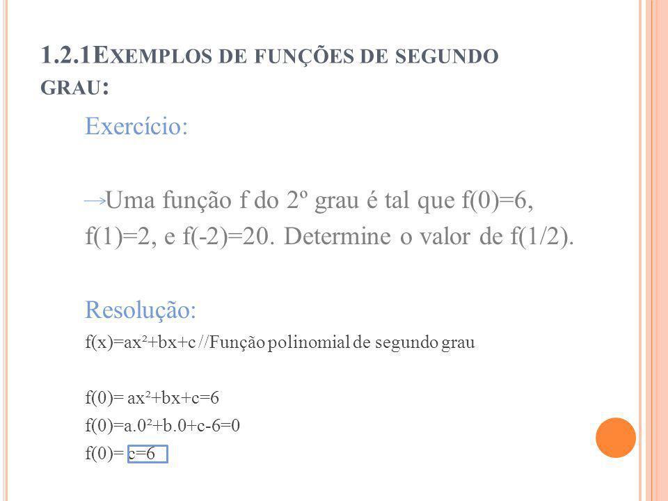 1.2.1Exemplos de funções de segundo grau: