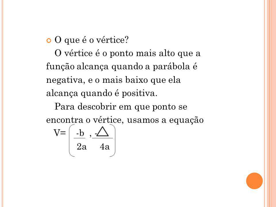 O que é o vértice O vértice é o ponto mais alto que a. função alcança quando a parábola é. negativa, e o mais baixo que ela.