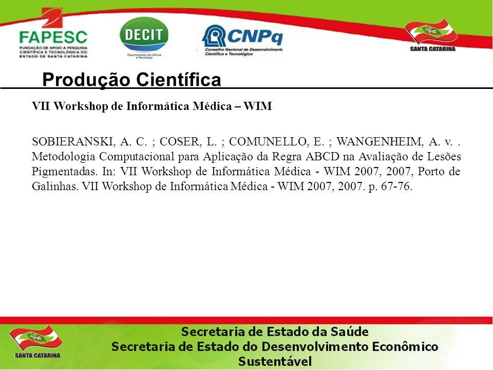 Produção Científica VII Workshop de Informática Médica – WIM