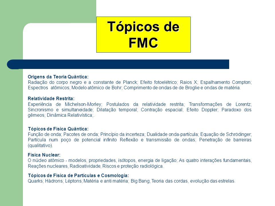 Tópicos de FMC Origens da Teoria Quântica: