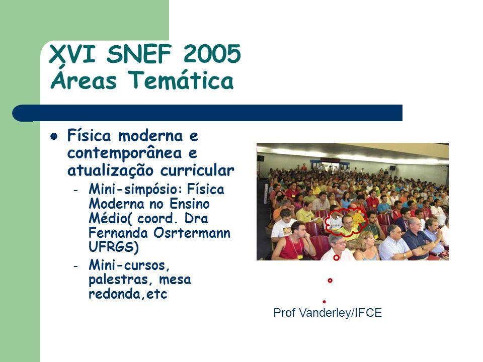 XVI SNEF 2005 Áreas Temática