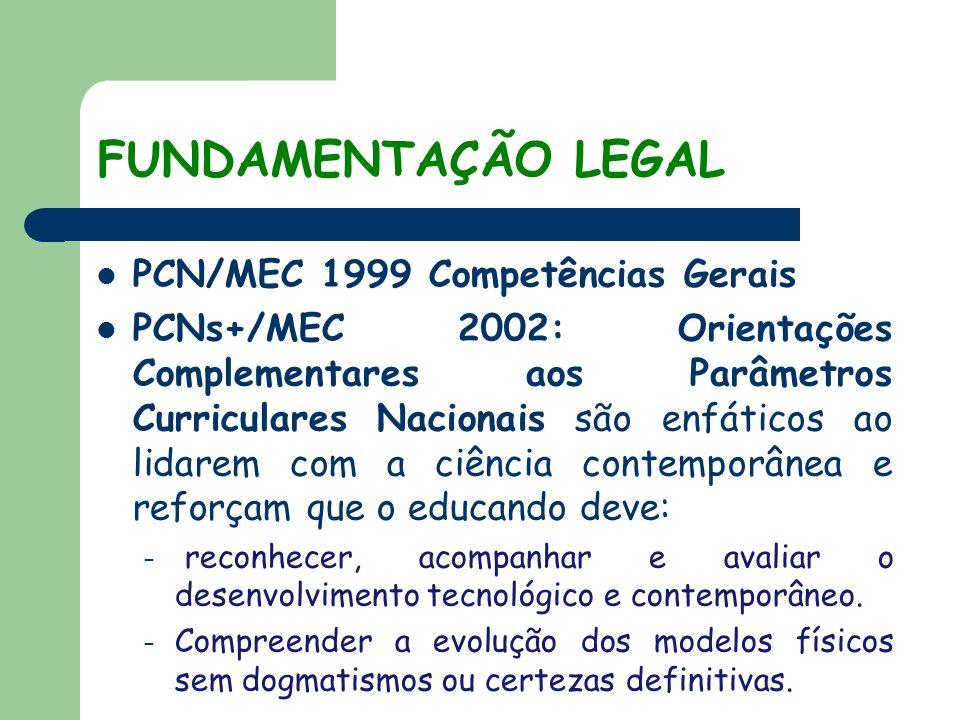 FUNDAMENTAÇÃO LEGAL PCN/MEC 1999 Competências Gerais