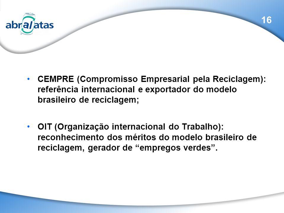 16 CEMPRE (Compromisso Empresarial pela Reciclagem): referência internacional e exportador do modelo brasileiro de reciclagem;