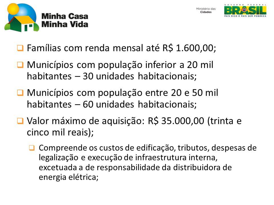 Famílias com renda mensal até R$ 1.600,00;