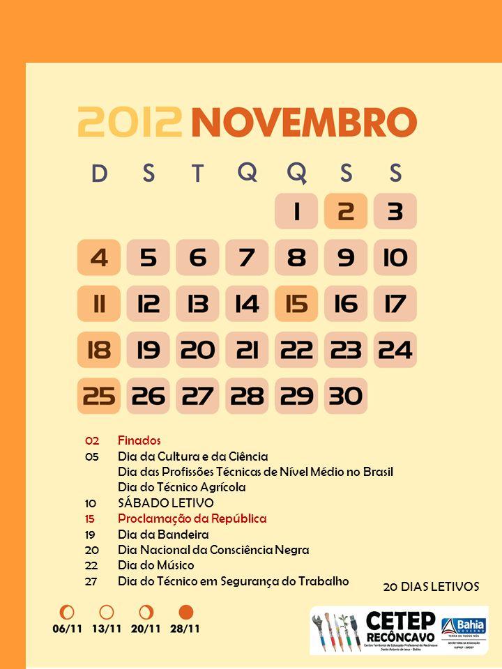 02 Finados 05 Dia da Cultura e da Ciência. Dia das Profissões Técnicas de Nível Médio no Brasil. Dia do Técnico Agrícola.