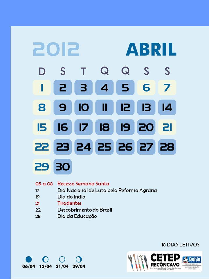 05 a 08 Recesso Semana Santa 17 Dia Nacional de Luta pela Reforma Agrária. 19 Dia do Índio. 21 Tiradentes.