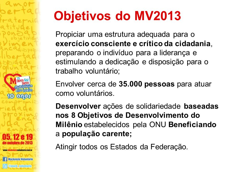 Objetivos do MV2013