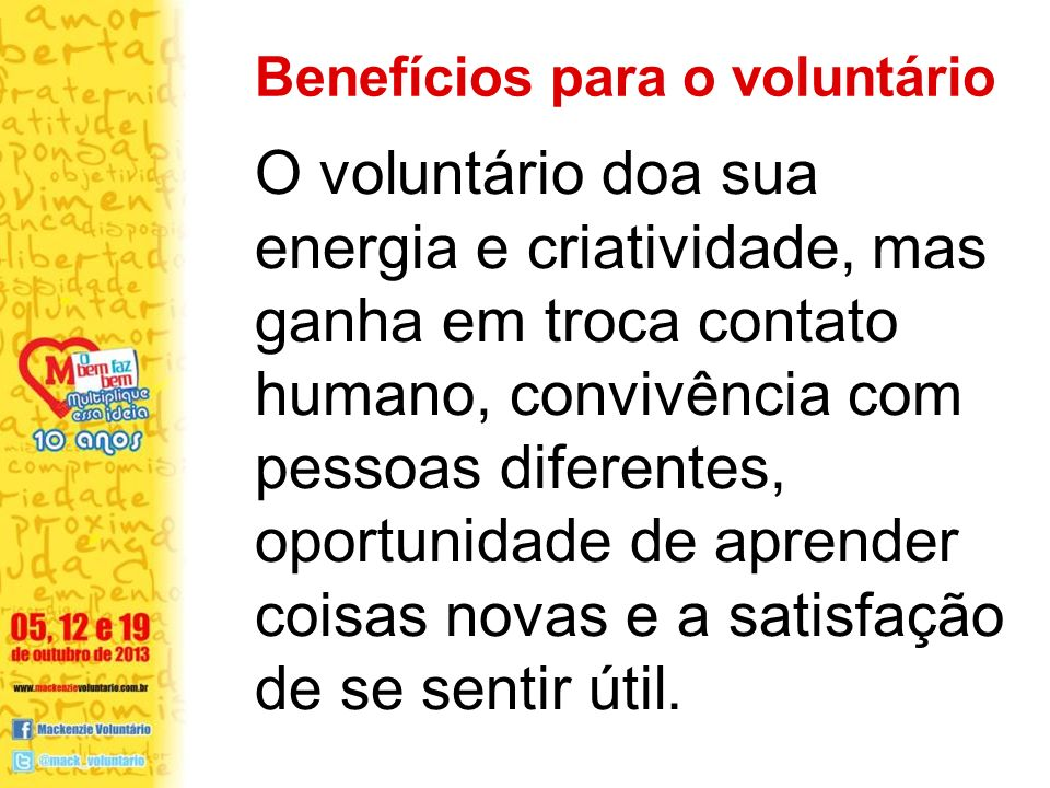 Benefícios para o voluntário