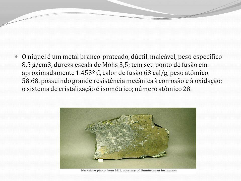 O níquel é um metal branco-prateado, dúctil, maleável, peso específico 8,5 g/cm3, dureza escala de Mohs 3,5; tem seu ponto de fusão em aproximadamente 1.453º C, calor de fusão 68 cal/g, peso atômico 58,68, possuindo grande resistência mecânica à corrosão e à oxidação; o sistema de cristalização é isométrico; número atômico 28.