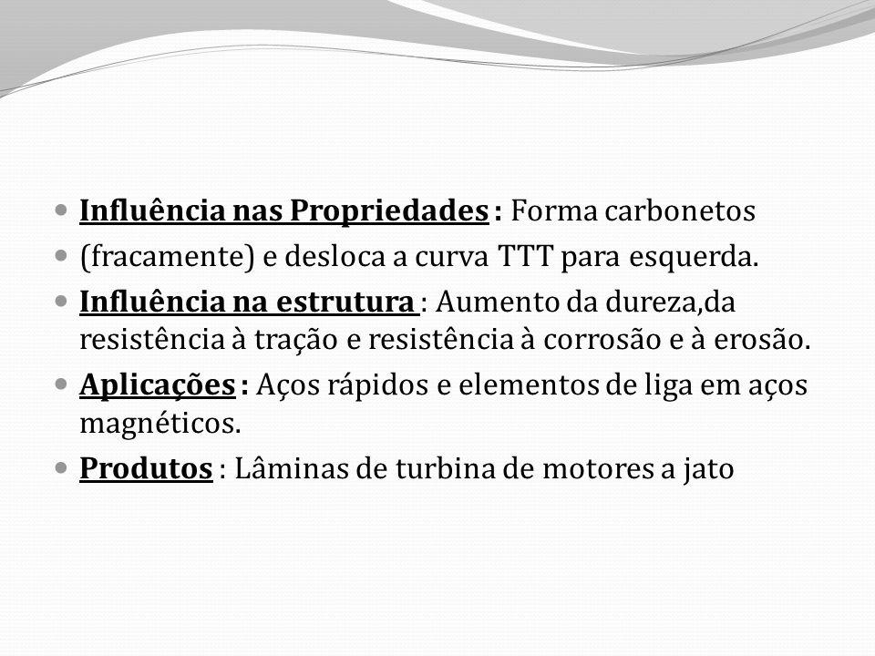 Influência nas Propriedades : Forma carbonetos