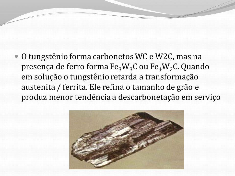 O tungstênio forma carbonetos WC e W2C, mas na presença de ferro forma Fe3W3C ou Fe4W2C.