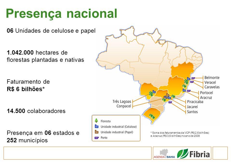 Presença nacional 06 Unidades de celulose e papel