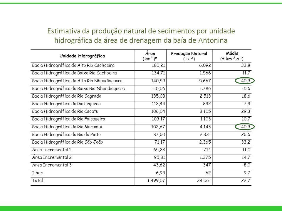 Estimativa da produção natural de sedimentos por unidade hidrográfica da área de drenagem da baía de Antonina