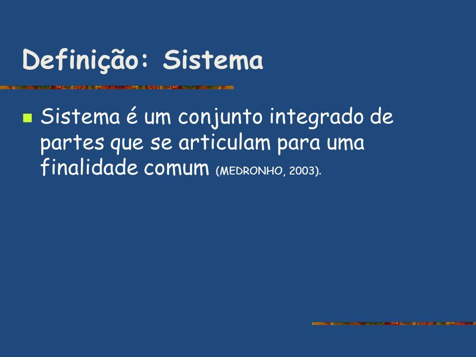 Definição: Sistema Sistema é um conjunto integrado de partes que se articulam para uma finalidade comum (MEDRONHO, 2003).