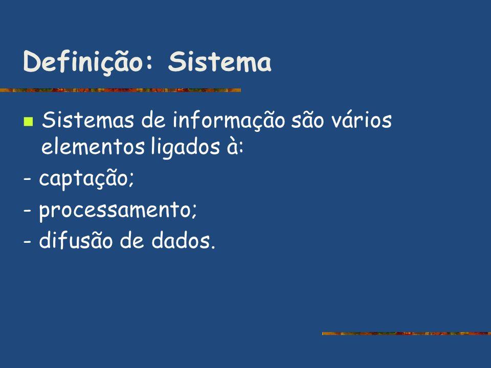 Definição: Sistema Sistemas de informação são vários elementos ligados à: - captação; - processamento;