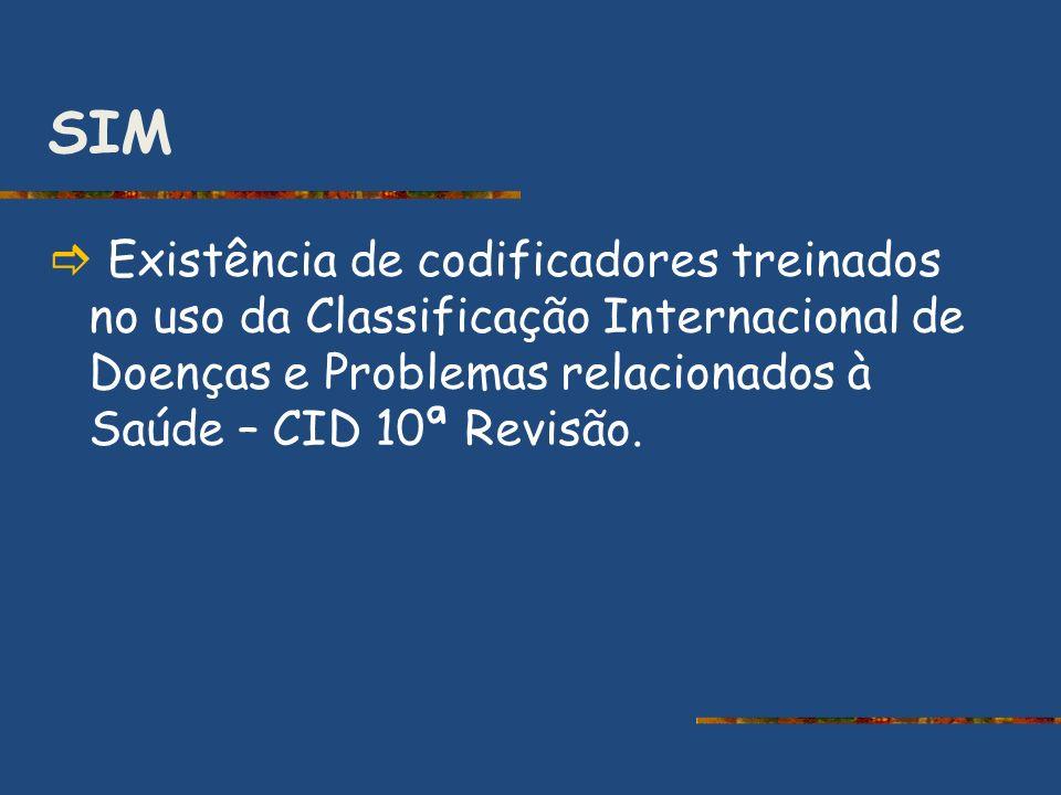 SIM  Existência de codificadores treinados no uso da Classificação Internacional de Doenças e Problemas relacionados à Saúde – CID 10ª Revisão.