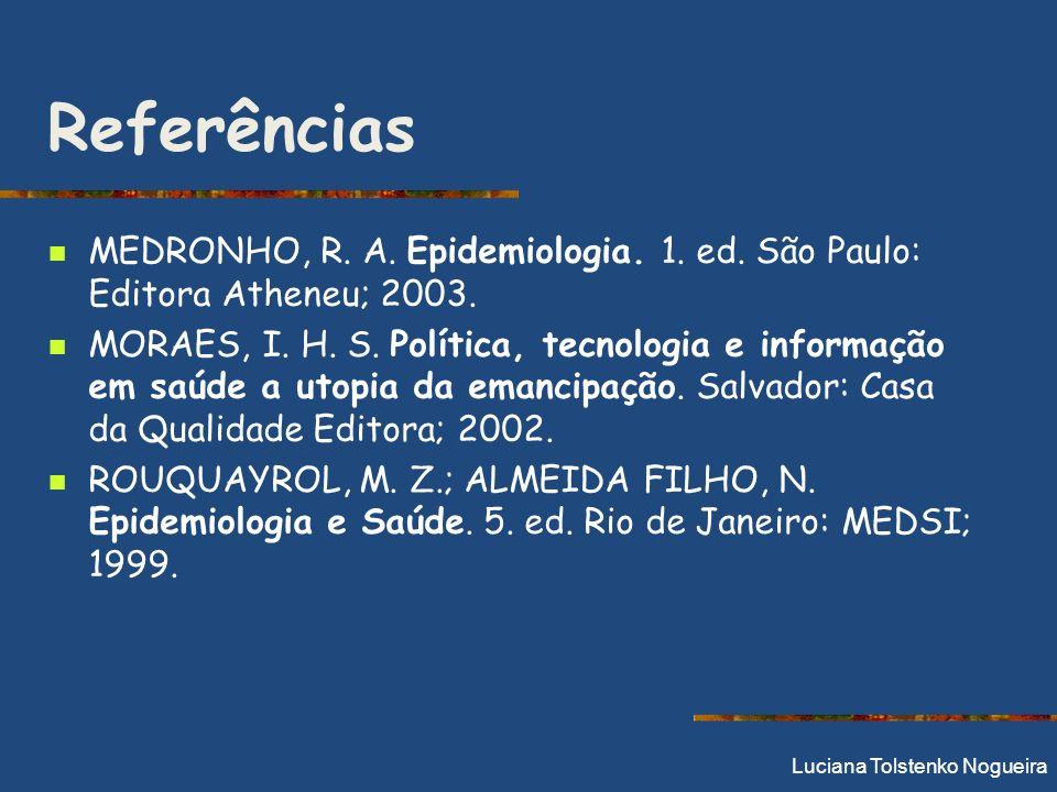 Referências MEDRONHO, R. A. Epidemiologia. 1. ed. São Paulo: Editora Atheneu; 2003.