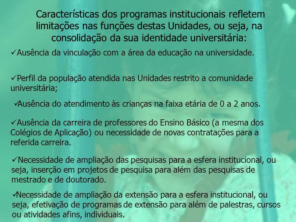 Características dos programas institucionais refletem limitações nas funções destas Unidades, ou seja, na consolidação da sua identidade universitária: